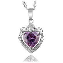 AAA 100% Silver 925 Necklace Lovely Heart  Water Drop Sterling Silver Necklaces & Pendants FREE SHIPPING