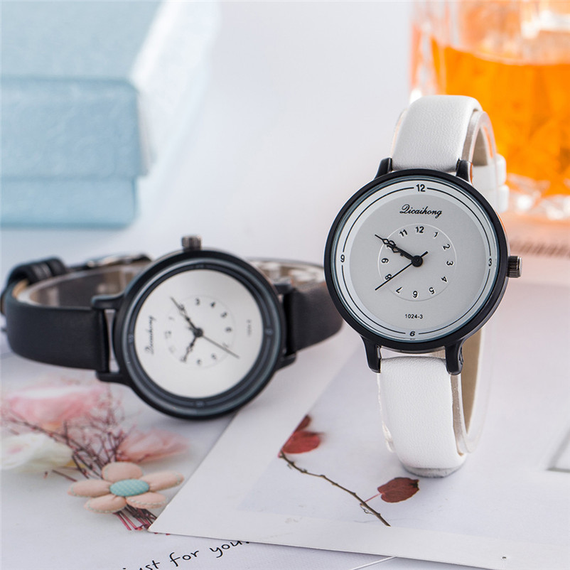 2018 High Quality women fashion casual watch luxury dress ladies Leather Band Analog Quartz Wrist Watch Clock relogio J13#N (11)