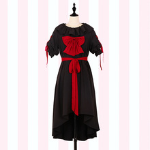 Gothic Women's High Low Dress Sweet Mori Girl Round Neck Short Sleeve Dress with Sash & Bows by iDream