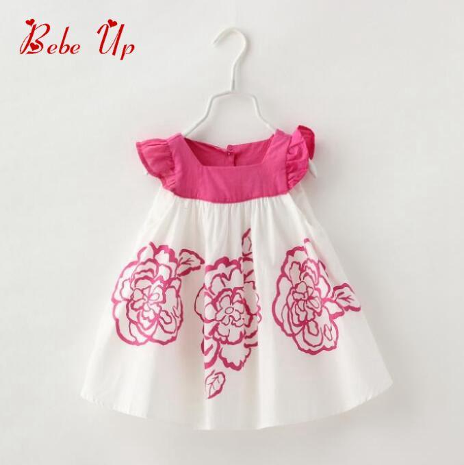 Baby Girls Flower Print Dress Ruffles Toddler Kids Floral Cotton Casual Butterfly Sleeve Cute Dress Children Summer 2016 Clothes<br><br>Aliexpress