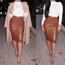 (Ship from US) 2018 High Waist Bodycon Skirt Winter Women Sexy PU Leather  Knee Skirts Womens Slim Long Pencil Skirt Plus Size 2XL female Skirt a40f715d6efb