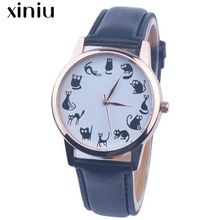 XINIU quartz watch women men many balck mini cat pattern Leather Band Analog Quartz Vogue Wrist Watches women dress relogios #A1