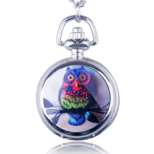 Selling Monopoly Cute Little Girl Necklace Clamshell Cartoon Owl Pocket Watch Female Student Fashion Wild Watch Gift Promotion