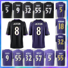 ¡8 Lamar Jackson jersey 55 Terrell Suggs 9 Justin Tucker 18 Breshad Perriman 32 Eric Weddle 57 C.J! Mosley camisetas(China)