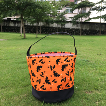 Wholesale Blanks 2017 New Arrival Halloween Buckets Owl Bats Pumpkin Multi Chevron Stripe Printing Halloween Candy Tote Bag