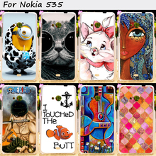Hard Plastic and Soft TPU Phone Cover For Microsoft Nokia Lumia 535 N535 Cases Cool Skull Cute Minions Flower Protective Shell