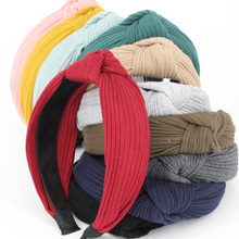 12pcs Solid Knitted Cotton Center Knotted Turban Hair Bands for Women and Girls Comfortable Headband Fashion Hair Accessories
