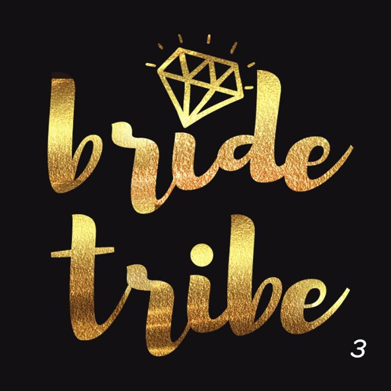 5Pcs/lot Flash Bride Tribe Temporary Tattoo Sticker Bachelor Party Bridesmaid Wedding Party Body Art Glitter Tattoo Decals Y2 15