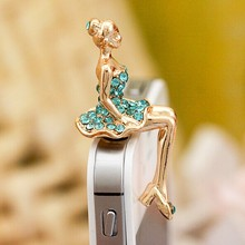 Fashion Style Beauty Lady with Diamond Skirt Design Mobile Phone Ear Cap Dust Plug For Iphone For Samsung 3.5mm Dust Plug