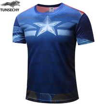 New TUNSECHY captain America 2 2017 leisure men fashion T-shirt with short sleeves hot style jacket T-shirt sell like hot cakes(China)