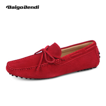 US6-12 Suede Leather Mens SLIP 0N loafers casual CAR Shoes Moccasin men boat shoe tassel Loafer(China)