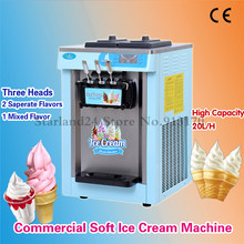 Soft Ice Cream Machine Commercial Icecream Machine 20L/hour 220V Blue Color Three Heads LED Display