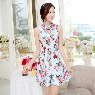 New Brand Women One Piece Swimsuit Classic Cheongsam Style Swimwear Vintage Floral Beach Wea rElasticity Bathing Suit with  Pads<br>