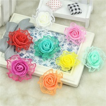 30pcs Mini PE Foam with Lace Rose Artificial Flowers Heads For Wedding Car Decoration DIY Pompom Wreath Decorative Fake Flowers
