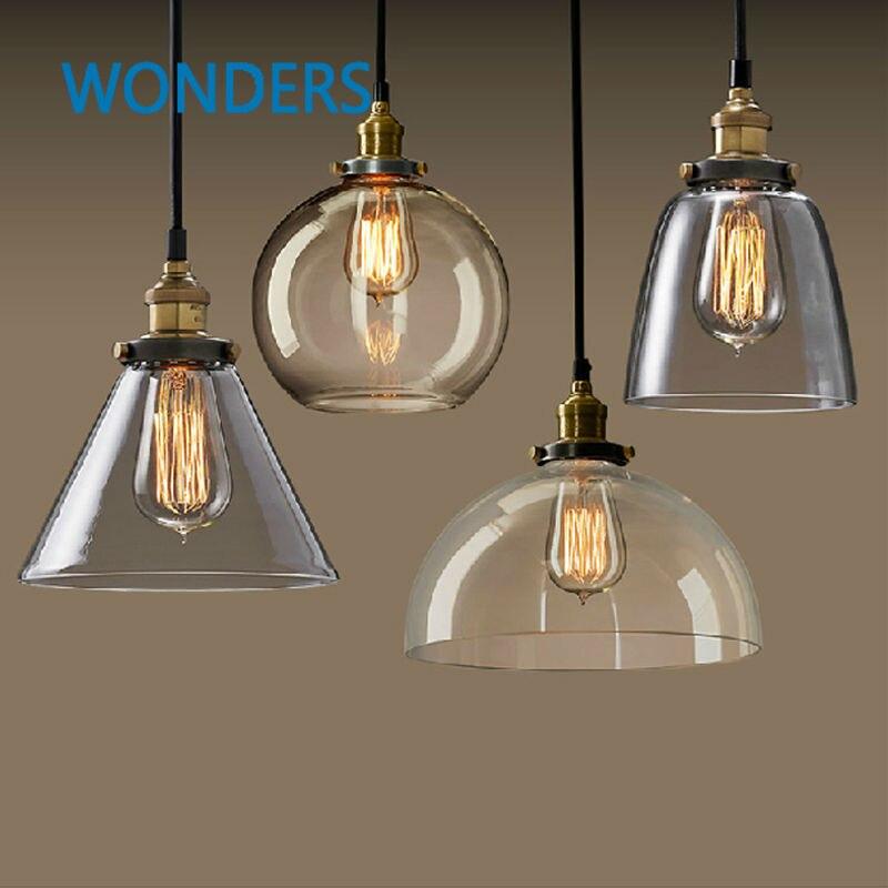 Vintage Clear Glass LOFT Pendant Light Copper Hanging Lamp E27 110/220V Light Bulbs For Home Decor Restaurant Luminarias Abajour<br>