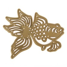 1PC Hollow Gold Fish Stencil Mold Embossing Cutting Dies for DIY Scrapbooking Photo Album Decoration Paper Card Cutter