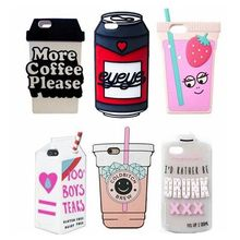 3D Drink Box Carton Beer Can Pack Coffee Juicy Water Soft Silicone Case for iPhone 8 6 6S 7 Plus 5 5S SE 5C(China)