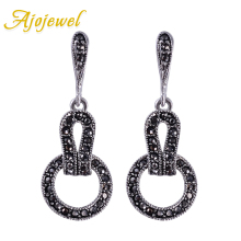 Ajojewel Brand Black CZ Vintage Jewelry Women Geometric Earrings Female Gift Bijouterie Costume Jewellery
