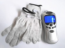 Whole English keys Care Electric Tens Acupuncture Full Body Digital Therapy Massager  +Silver conductive fiber Massage gloves