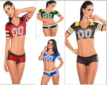 Free Shipping Fantasy Football Costume soccer baby football girl sexy short skirt boy shorts cheerleaders team sets s suit(China)