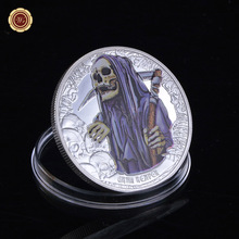 WR Queen Elizabeth II Silver Coin Zinc Alloy Gold Coins Colored Grim Reaper Skull Coin Silver Plated Coin Free Shipping