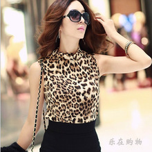 2017 Women Leopard Chiffon Top Blouse Multi-colour Print Shirts Lady Casual Sleeveless Blouses Blusas Femininas