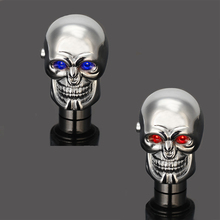 Cool Chrome Skull Head Style Red/Blue LED Lights Car Manual Gear Stick Shift Knobs Shifter Battery Head Car Gear Knob Modified(China)