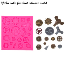 YeFu cake fondant silicone mold Gears gearwheel Cake Molds Cupcake Mould Chocolate Baking Tools for Cakes decoration T0576