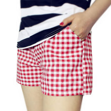 Fashion Women Plaid Shorts Casual Loose Elastic Waist All-Match Summer Cotton Short Pants Plus Size 4XL FS99(China)
