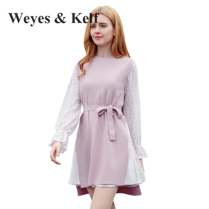 Weyes &amp; Kelf Long Sleeve Cotton Winter Dress women 2018 Sweet Solid Pink Lace knitted Womens Dress Two Piece Short Party DressÎäåæäà è àêñåññóàðû<br><br>