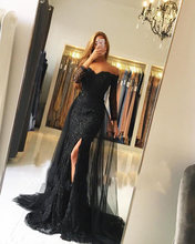 Mother Of The Bride Dresses V-neck Sexy 2018 Black Off Shoulder Evening Dress  Long Sleeve Lace Gown With Detachable Tulle Train 7a683010f5f4