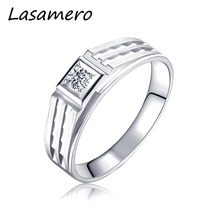 LASAMERO Rings for Men 0.09CT Round Cut Natural Diamond Ring 18k White Gold Engagement Wedding Ring(China)