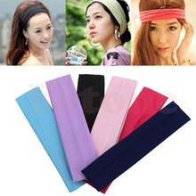 Free Shipping Girls Sports Softball Yoga Gym Sweatband Headband Cotton Stretch Soft Hair Band(China)