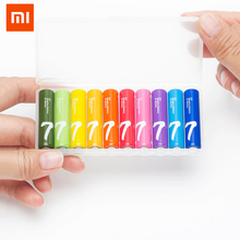 10 pcs/lot Xiaomi ZI7 alkaline battery 1.5V Rainbow AAA primary batteries LR03 AM-4 Pilha seca for MP3 Flashlight Radio walkman