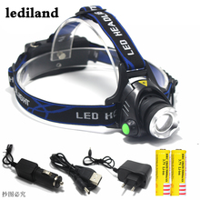 Head light Head lamp Cree XM-L T6 led 4000LM rechargeable Headlamps Headlights lamp lights+2*5000mah battery+Car/AC Charger