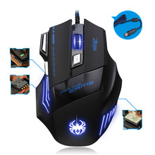Gamer Optical Gaming Wired Mouse 7 Button LED 5500 DPI mice games office peripherals accessories For computer PC Laptop(China)