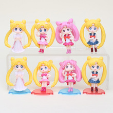 4pcs/set sailor moon Q version Tsukino PVC Action Figure Resin Collection Model Toy Doll Gifts(China)
