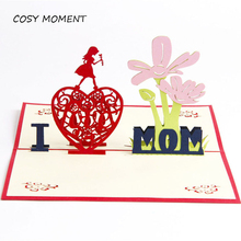 COSY MOMENT Handmade I LOVE MOM Postcards Paper Laser Cut 3D Pop Up Greeting Mother's Day Gift Cards  HK025