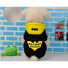 Pet Dog Hoodies Batman Knight Costume Winter Warm Coat Clothes Funny Batman Coat Hoodie Without Sunglasses 11682(China)