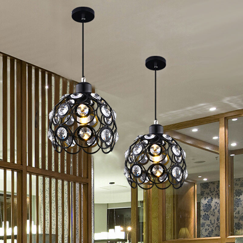 5W Modern crystal pendant lamps design white/black iron chandelier for home lights bar Living Room Lighting 110-240V(China (Mainland))