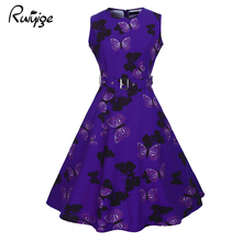 Buy RUIYIGE 2017 Fashion Sashes Empire Print Floral Dress High Waist O Neck Knee Length Boho Robe Casual Ball Gown Summer Vestidos for $15.57 in AliExpress store