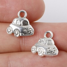 11pcs 11x12mm Zinc Alloy Antique Silver Car DIY Charms Pendants