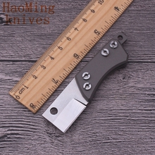 Camping survival portable D2 steel titanium handle mini folding knife key chain pocket tactical rescue knives hand made EDC tool(China)
