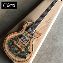 Gisten New style, high quality custom LP electric guitar, Abalone Inlay in body, chrome hardware electric guitar, free shipping