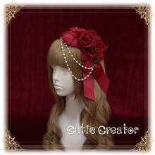 [Revolution]+The Rose Bride+Bead Chain+Head bow Lolita Hairbands Original Unique Design