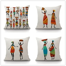 45*45cm African Woman Ethnic Cushion Cover Dancing Art images Pillow Covers Pillow Cases Color Cloth Bedroom Sofa Decor(China)