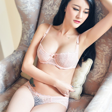Buy Shaonvmeiwu Ultra-thin perspective lace bra set sponge large size fat MM transparent sexy underwear bra female