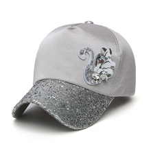 Summer Trendy Unisex Woman Man Diamante Sequined Adjustable Hat Outdoor Swan Snapback Hat Sunbonnet Hip Hop Bone Baseball Cap(China)