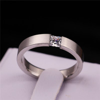 LBS 4mm Stainless Steel Solid Zircon Ring Engagement Wedding Charm Rings Men Women