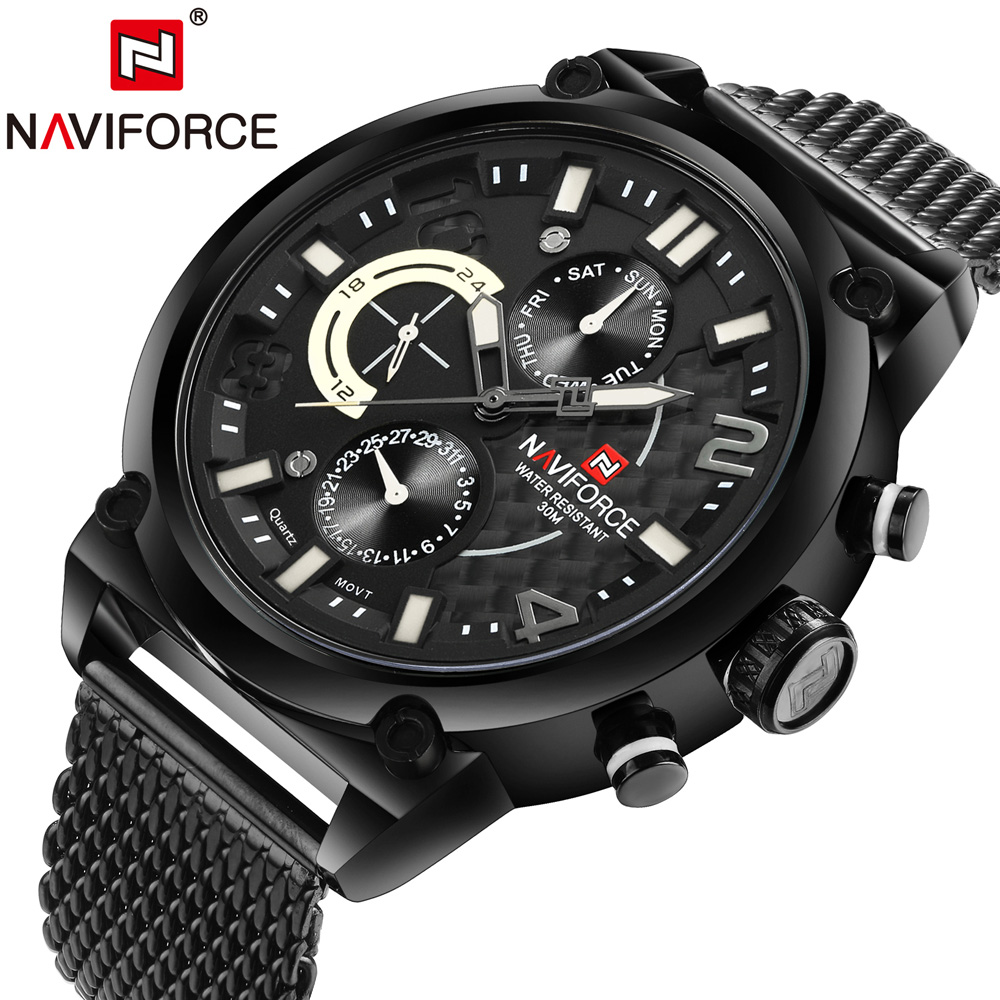 NAVIFORCE Watches Men Sports Top Luxury Brand Mens Quartz Analog Date Clock Man Army Casual Full Steel Man Wrist Watches 2017<br>